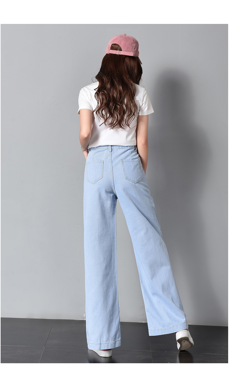 Vintage Wide Leg Jeans Big Pockrt Loose Washed High Waist Denim Pants 2018 Long Jeans for Women Pantalon Femme Light Dark Blue 12