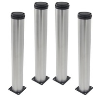 4pcs 500mm Height Furniture Legs Adjustable 15mm Silver Tone Stainless Steel Table Bed Sofa Leveling Feet