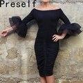 Preself осеннее сексуальное женское платье длины макси с расклешенными рукавами облигающее клубное вечернее платье с разрезом больших размеров vestidos
