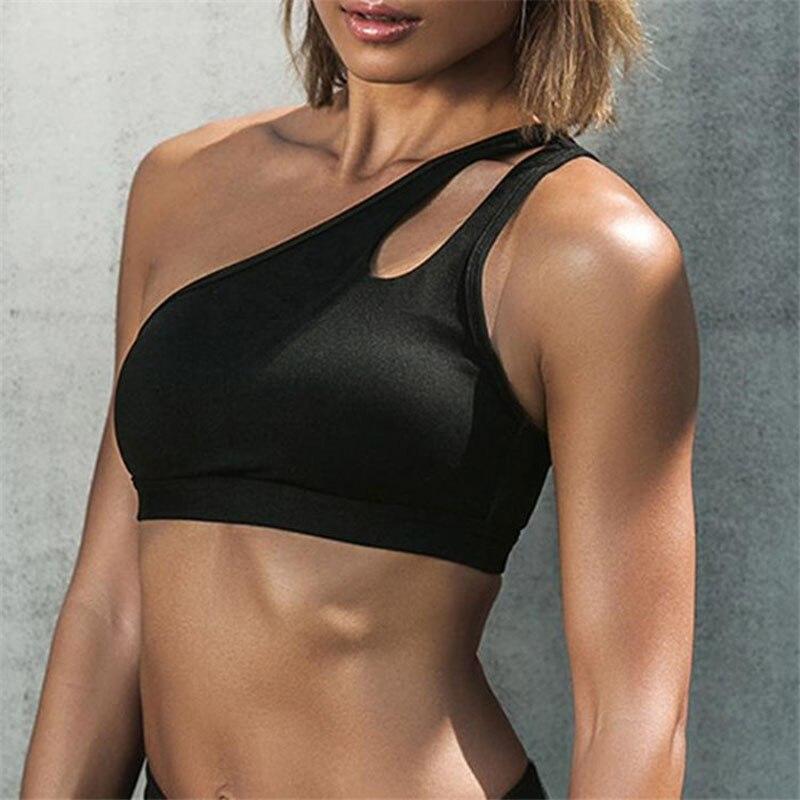 Feminino de Alça Única para Corrida Curta e Preta para Treino Preto e Branco Colete Esportivo Camiseta Top 2020