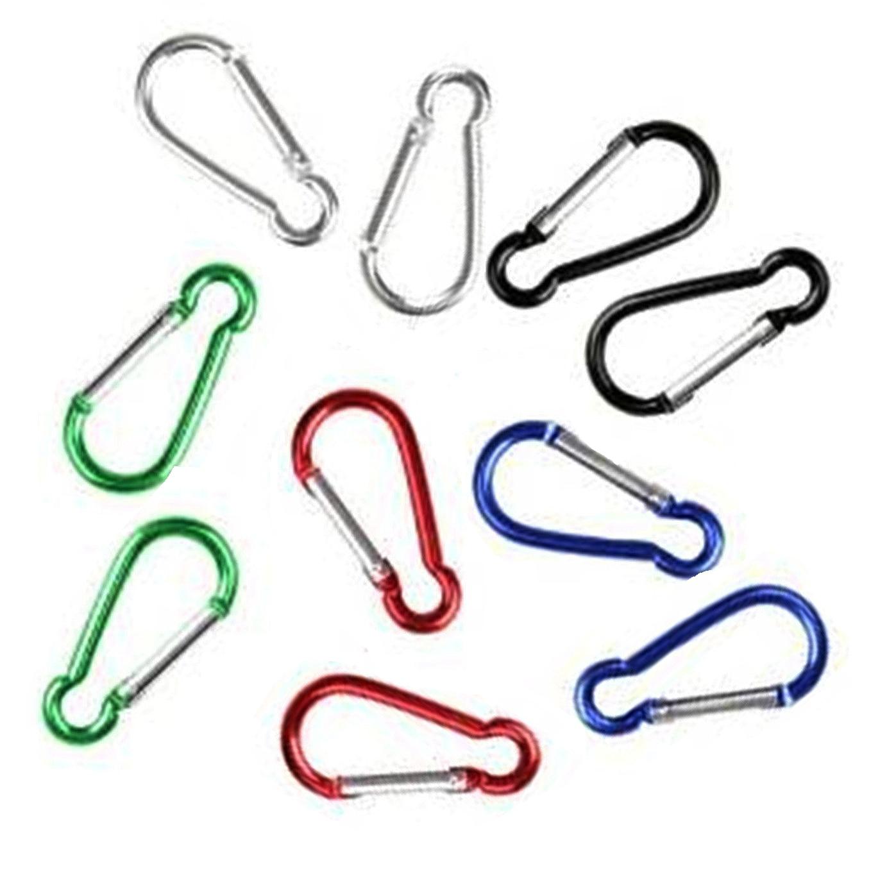 10 Pcs Multi Color Metal Aluminum Climbing Carabiner Hook Clip Snap Key Ring Camping Sport Karabiner Keychain Camping Accessory