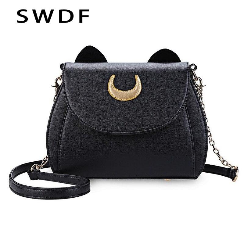 SWDF Лето Сейлор Мун Дамы Сумочка Черный Luna Cat Форма цепь сумка из искусственной кожи Для женщин Crossbody Маленькая сумка