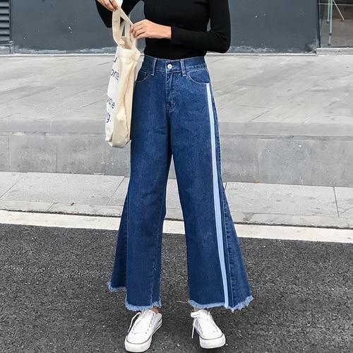6e9f0dbd3e3 Autumn Women Blue Flare Jeans Korean Bf Style High Wais Wide Leg Jeans Sexy  Patchwork Asymmetric