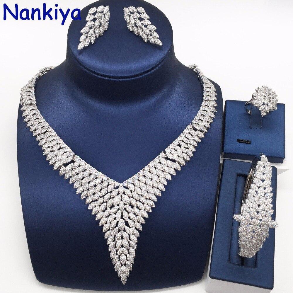 Nankiya Luxury Brilliant Wedding Jewelry Set Micro Paved Cubic Zirconia Dubai Rhodium Gold Bridal Wedding Jewellery Sets NC731