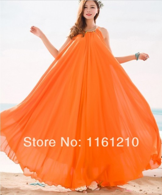 Orange summer bridesmaid sundress holiday beach maxi dress for Plus size maxi dresses for summer wedding