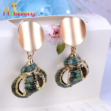 ZA 2019 New Hot Natural Sea Shell Drop Dangle Earring for Women Trendy Metal Maxi Geometric Statement Beach Party Jewelry gold