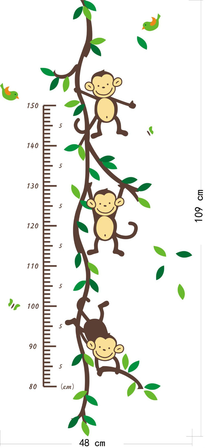 Zoo Yoo Playing Jungle Monkey Tree Height Wall Art Stickers Nursery Decor  Kids Height Chart Measure-in Wall Stickers from Home   Garden on  Aliexpress.com ... 85387b2a84f8
