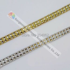 Cinta de diamantes de imitación de cristal transparente de cinta de diamante metálico de plata de oro rosa de 2 filas para prendas de vestir DIY para fabricación de muebles de zapatos