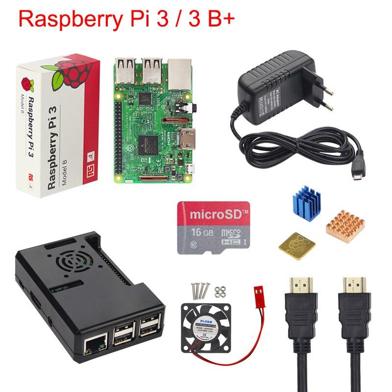 Raspberry Pi 3 B + Starter Kit Raspberry Pi 3 Модель B + чехол + 16 32 ГБ SD карты + 3A Мощность адаптер + вентилятор + радиатор + HDMI кабель