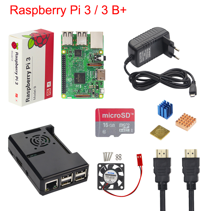 Raspberry Pi 3 B+ Starter Kit Raspberry Pi 3 Model B + Case + 16 32 GB SD Card + 3A Power Adapter + Fan + Heat Sink + HDMI Cable original uk raspberry pi 3 starter kit abs case 2 5a power supply adapter aluminum heat sink for raspberry pi 3 model b