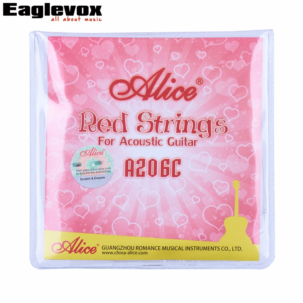 Red Acoustic Guitar Strings Stainless Steel 011-052 inch Red Alloy Wound Alice A206C