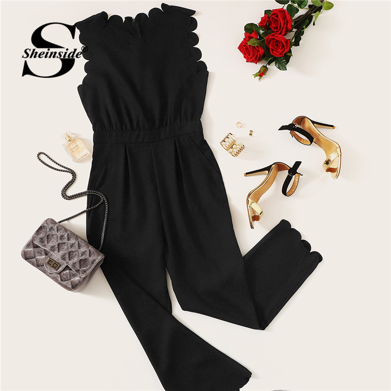 Elegant Scallop Edge Solid Jumpsuit Summer Black Jumpsuits for Women Sleeveless Mid Waist Workwear Maxi Jumpsuit