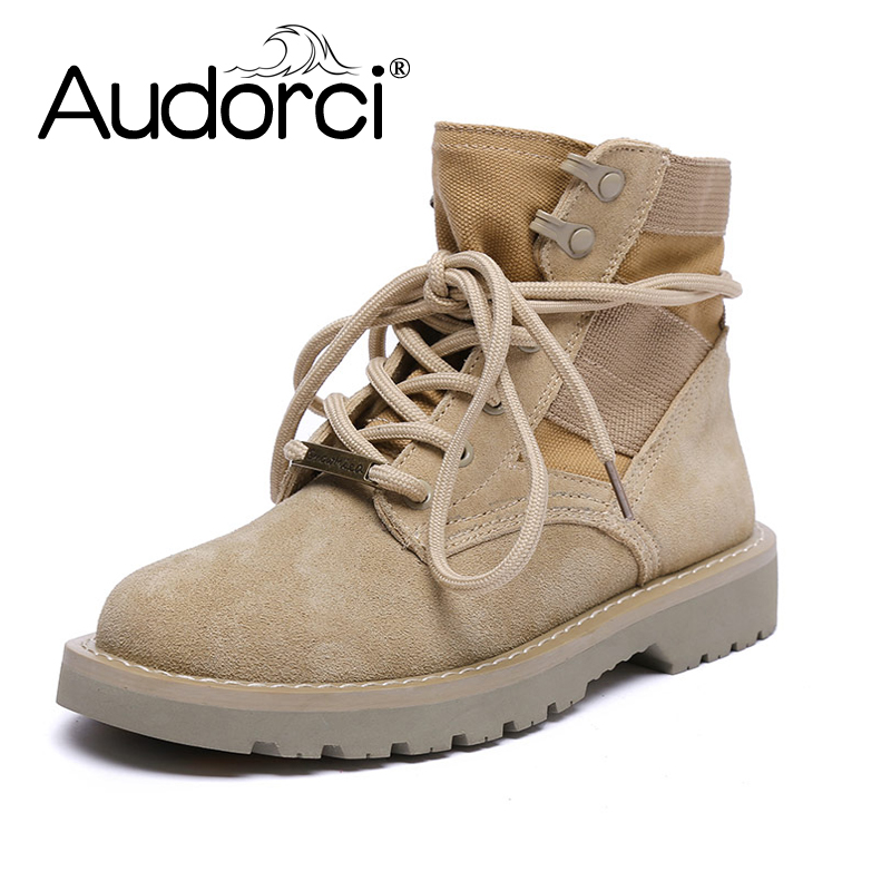 Audorci 2018 Cow Suede Leather Women Ankle Boots Winter Warm Lace-Up Woman Shoe Spring Motorcycle Martin Woman Boot SIze34-40 2017 embellished sweety girl love pink peach women martin boots short shoe ankle lace up crystal sequins flat round toe shoe
