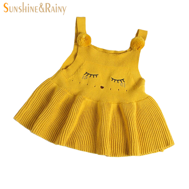 Ins New Girls Sweater Dress For Baby Girl Knitted Dress Hairball Shy Fox Cotton Kids Winter
