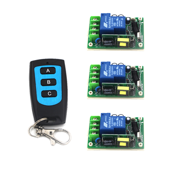 3CH Wireless Remote Control Switch System AC 85V-250V 30A Learning code Toggle/Momentary LED ON OFF Wireless Switch SKU: 5498