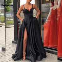 2019 Black Prom Dresses with Pockets Side Slit Strapless Satin Elegant Long Evening Party Gowns Wine Red Women Formal Dress