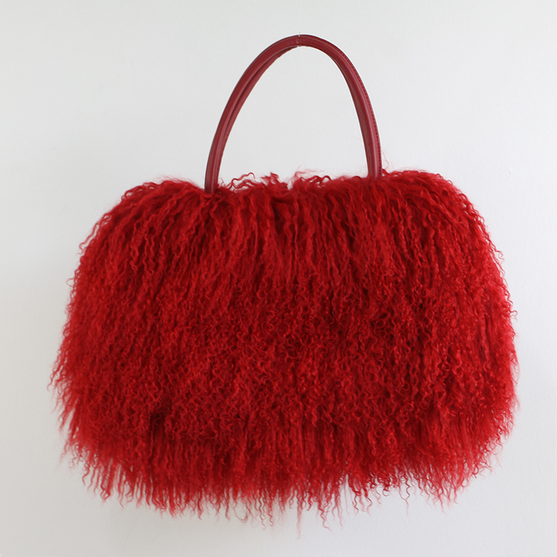 Classic Women Fluffy real Mongolian Fur bag Handbag Purse YH211 - 3
