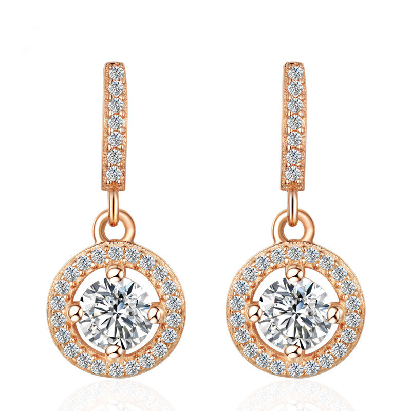 <font><b>ANDARA</b></font> High quality 925 Sterling Silver Earrings AAA zircon rose gold woman jewelry image