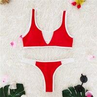 Womens Bathing Suits Two Piece Set Brazilian Cut Bikini Micro Women Swimsuit Red and White Swimsuit Bikini Swimsuits Summer 2018