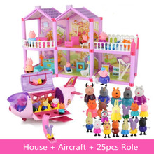 Peppa Pig Doll Aircraft Villa Sports Car Original Family Full Roles Action Figure Model Children Gifts