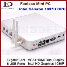Бесплатная доставка 4 ГБ ОЗУ 128 ГБ SSD Безвентиляторный мини-настольных ПК HTPC, Intel Celeron 1037U Dual Core 1.8 ГГц, HDMI, Wi-Fi, Windows 7, 3D игры
