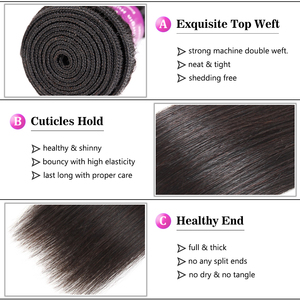 Image 4 - Soft Feel Hair Brazilian Straight Hair Bundles With Frontal Remy Human Hair 3 Bundles Lace Frontal Closure With Bundles 4Pcs/Lot