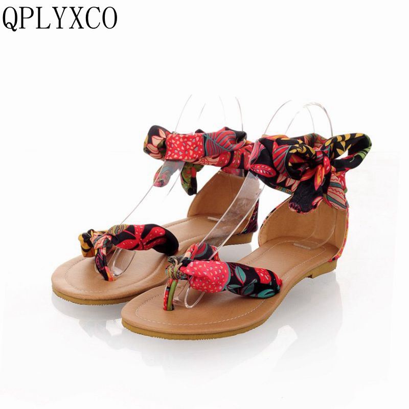 QPLYXCO New 3 Clors Big Size 32-54 T Strap Colorful Beach Flats Sandals Women Summer Sandals Sweet Ladies causal Shoes 326-4 big size 32 43 brand new 2016 summer sandals for women rhinestone casual retro sweet ladies fashion leisure shoes flat sandals