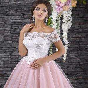 Image 3 - Gorgeous vestidos de novia de manga corta, vestidos rosas de encaje con apliques, vestido de baile con cuello de barco, sin hombros vestido de novia, vestidos formales de novia