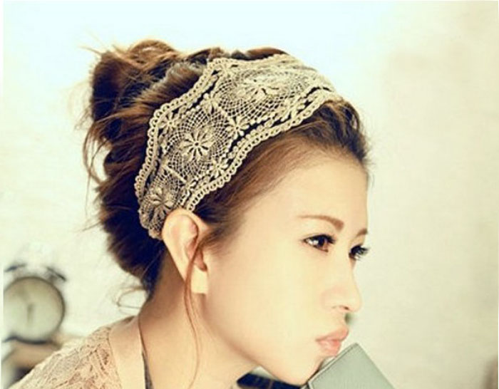 On Sale Women Lace Headband Retro Hair Band Wide Headwraps Hair Accessories turbante head band Christmas