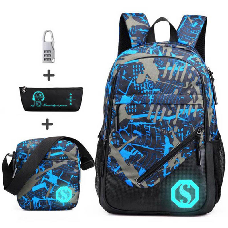 Waterproof Oxford Fabric Boys School Bags Backpack For Teenagers Pencil Case Blue Book Bag Boy One Shoulder Schoolbag Mochila
