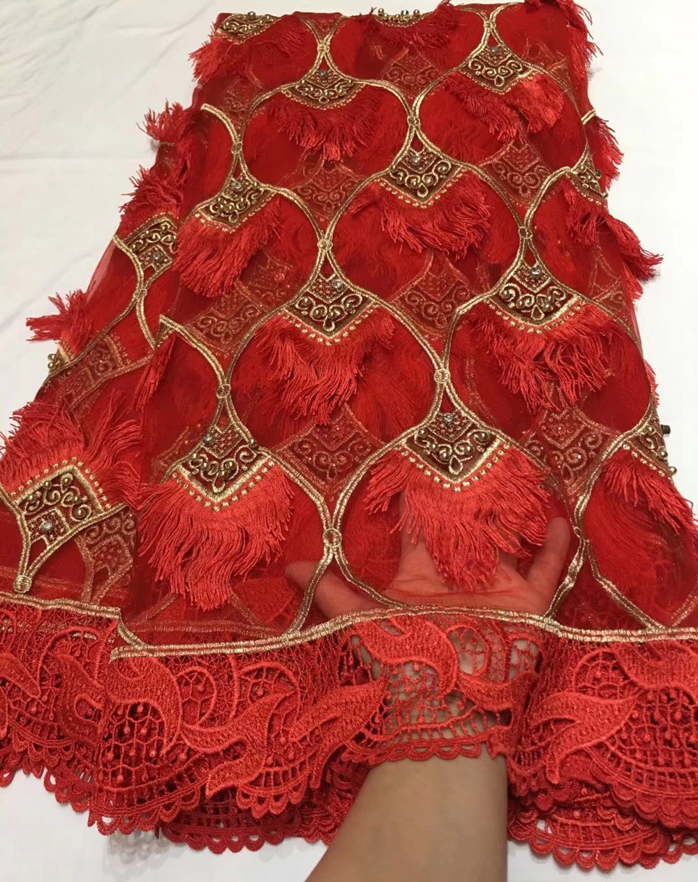 Czerwone koronki tkaniny tissus africains gipiury tiulu perlage wysokiej jakości nigeryjczyk zroszony koronki tkaniny koronki netto 2018 5 stoczni/ wiele 5807  w Koronka od Dom i ogród na  Grupa 1