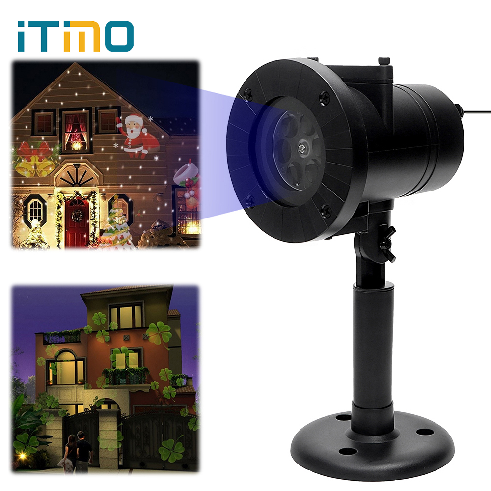 iTimo 12 Patterns Christmas Laser Snowflake Projector Outdoor Star Light Home Garden LED Stage Lamp Holiday Decor Waterproof newyear waterproof led snowflake laser projector lamps stage light christmas party garden home decoration outdoor