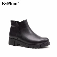 KvPhan Casual Winter Ankle Warm Boots Genuine Full Grain Leather Short Plush Snow Boots Women High Quality Low Heels Woman Shoes