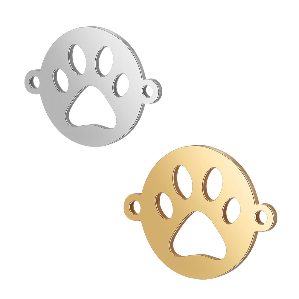 10pcs/lot 316L Stainless Steel Double Sided Polished Printed Dog Paw Charm Connectors For DIY Handmade Jewelry Accessories Craft