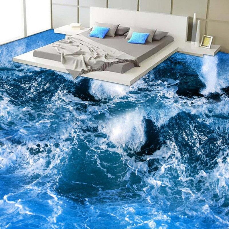 Mediterranean Style Surf Seawater 3D Flooring Mural Wallpaper Modern Bathroom Custom 3D Floor Wear Non slip Vinyl Wallpaper Roll