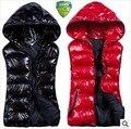 2014 новое поступление осень зима пальто рукавов женщины с капюшоном блестящие жилет мода хлопок-ватник свободного покроя жилет Большой размер WJ1328