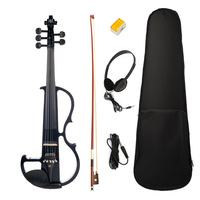 4/4 Solid Wood Black 5 String Electric Violin Kit Musical Instrument with Bow Case Rosin Headphone Cable Gift for Violin Players