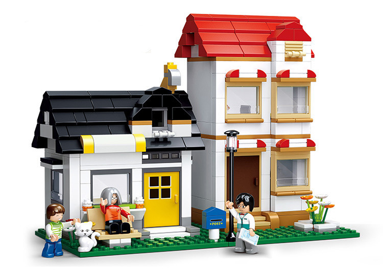 SLUBAN City Large Scene Apartment Villas Building Blocks Sets Doll House Bricks Model Kids Children gifts Toys Compatible Legoe lepin 02012 city deepwater exploration vessel 60095 building blocks policeman toys children compatible with lego gift kid sets