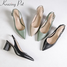 Summer Shoes Women Pumps High-Heels Buckle-Strap Pointed-Toe Genuine-Leather Sweet Spring