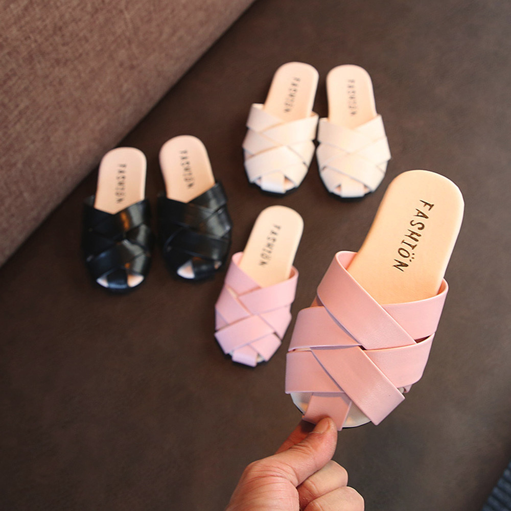 Girls Slippers Toddler Baby Children Beach Weave Shoes Leather Casual Summer Sandals Slippers Flip Flops Kids Slippers(China)