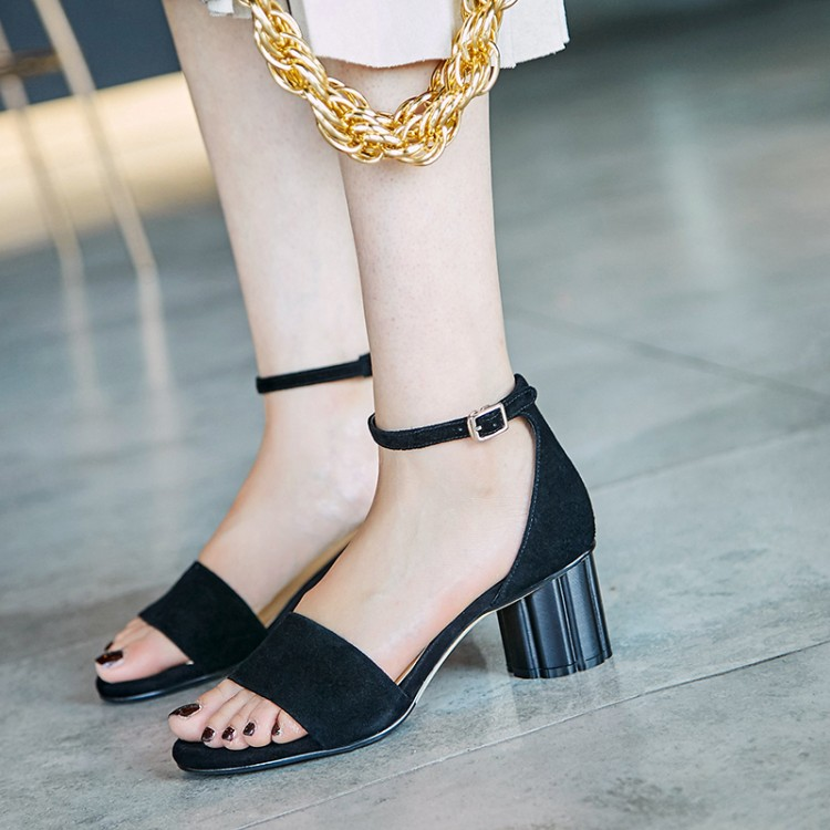 Big Size 9 10 high heels sandals women shoes woman summer ladies One-word sandals with thick heelsBig Size 9 10 high heels sandals women shoes woman summer ladies One-word sandals with thick heels