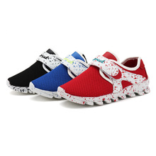 Fashion Ultra-light British Casual Kid Shoes For Girls And Boys Beathable Parchwork Netting White And Blue Children Sneaker