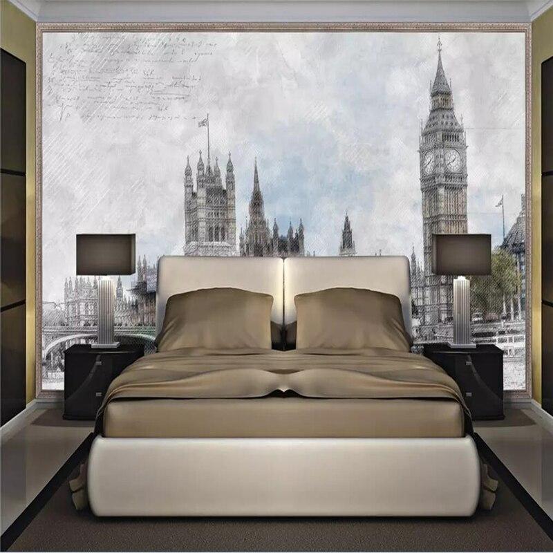 Decorative Wallpaper Hand-painted London Tower Bridge Background Wall