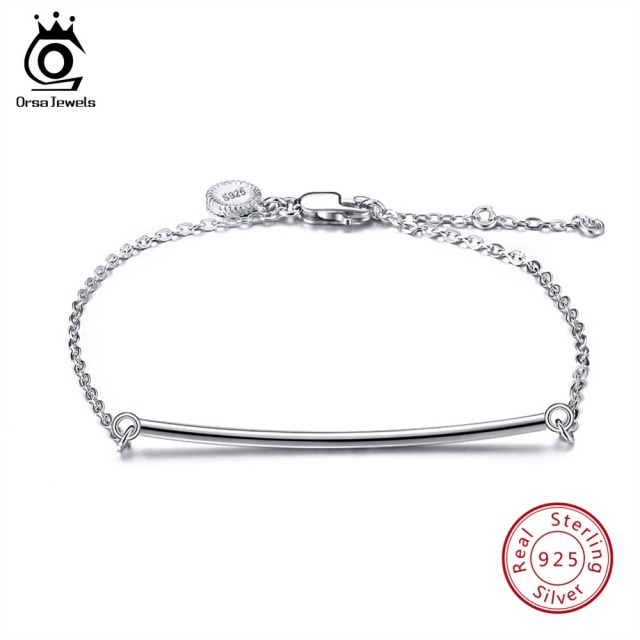 ORSA JEWELS Women Real 925 Sterling Silver Bracelets Long Bar Lobster-claw-clasps Elegant Bracelet Fashion Jewelry Gift SB27
