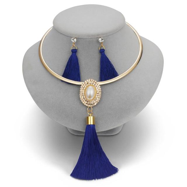 אופנה ציצית שרשרת עגילי סטים לנשים Boho זהב Chocker שרשרת קריסטל חרוזים ארוך זרוק עגילי חתונת תכשיטי סט