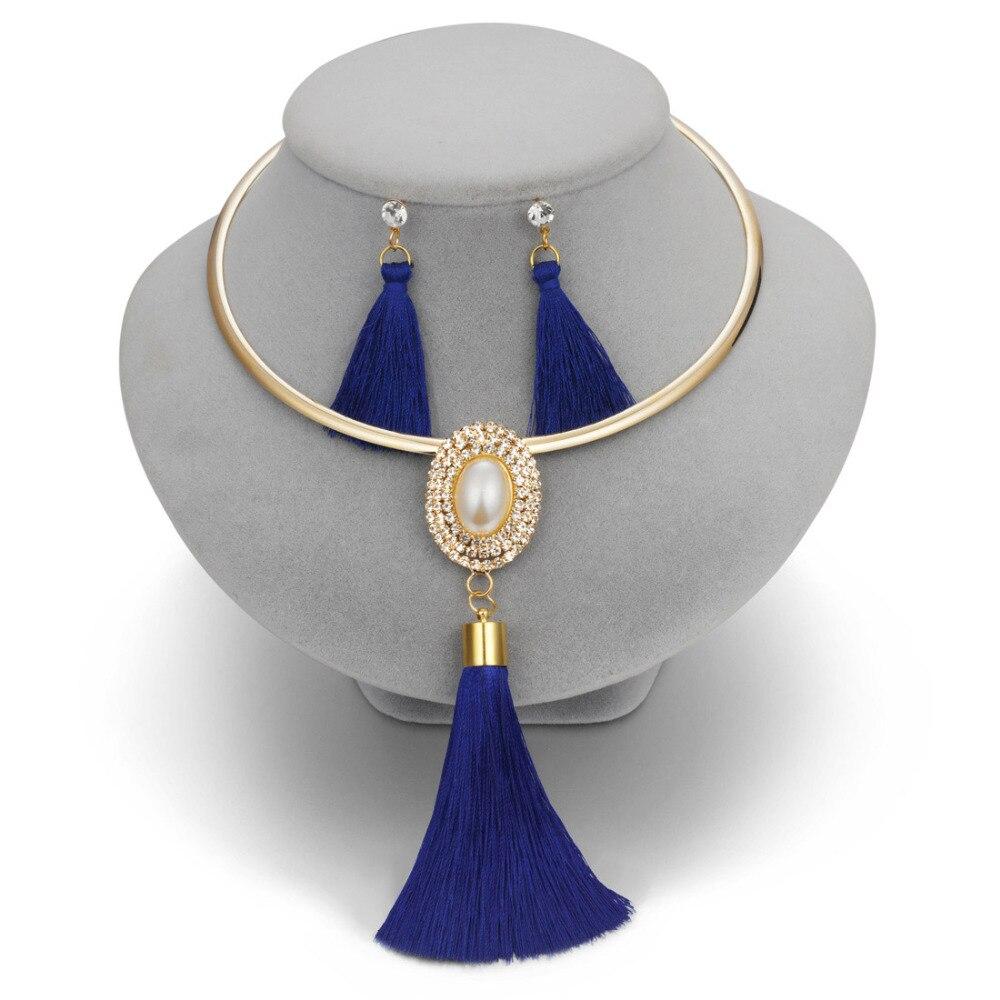 Fashion Women Tassel Jewelry Boho Pearl Chocker Necklace Crystal Drop Earrings Wedding Jewelry Set Tassel Necklace Earrings