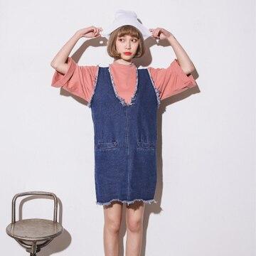 957705d13f5 2016 New Style Summer Dress Korean Casual Frayed Tassel V Neck Sleeveless  Blue Jeans Dress Retro Denim Dress vestido jeans D128-in Dresses from  Women s ...