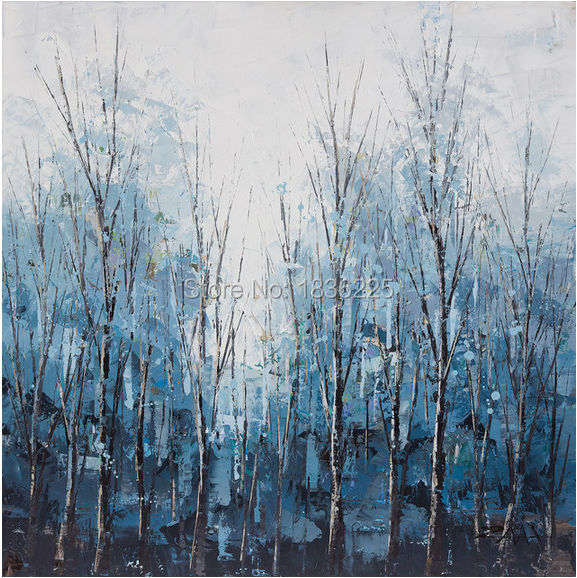 beautiful abstract oil paintings decorative painting for living room handmade dark blue tree landscape painting on canvas art