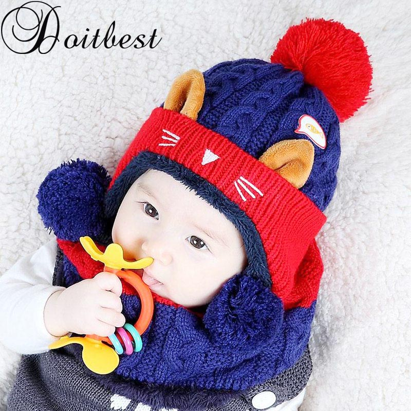 Doitbest 1 To 4 Years Old Cartoon Kitten Velvet Wool Kids Boys Beanies Knitted Fur Hats Winter 2 Pcs Baby Girl Scarf Hat Set