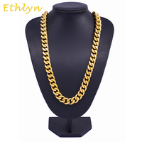 Ethlyn HipHop Cuban Gold Plated Link Chain For Men Jewelry Wholesale Long Big Chunky Necklace Copper